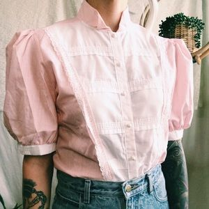Vintage Tops - Vintage puff sleeve button down blouse✨